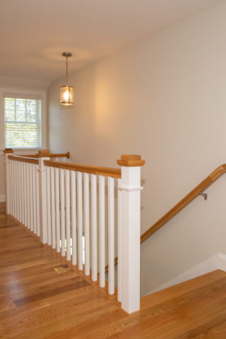 View of stairway in new home from second floor
