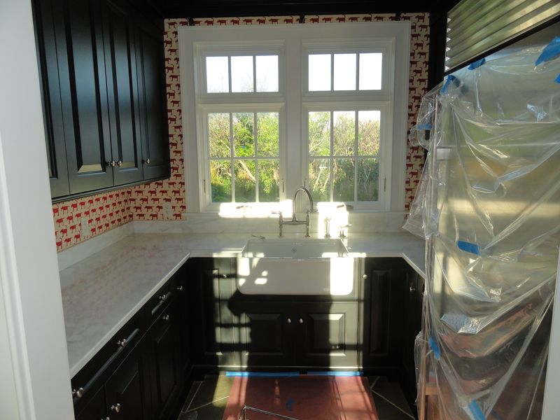 Pnatry area with sink, cabinets and window