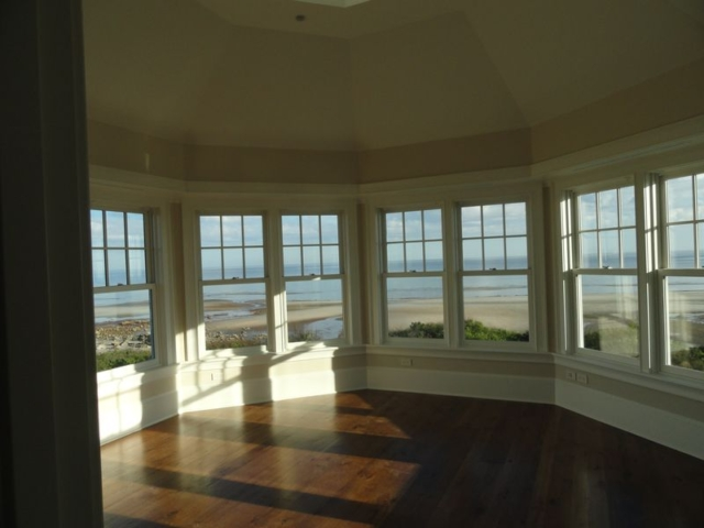 View from second floor to outside, round room with eight windows