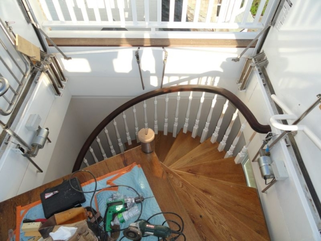 View looking from above of interior winding stair case