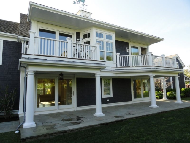 Exterior rear view of remodeled home