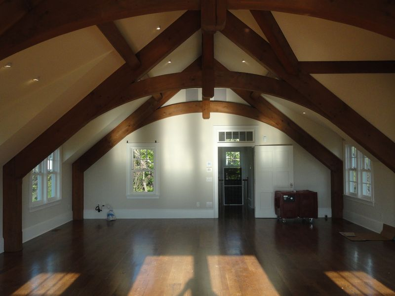 Exposed beam ceiling in remodeled home